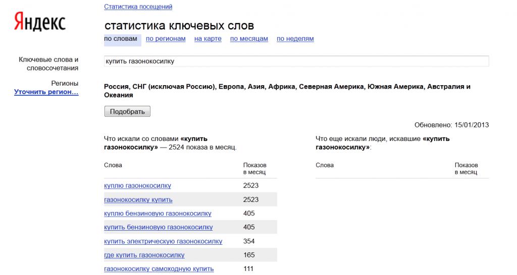 Подбор запросов при помощи wordstat.yandex.ru